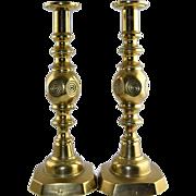 """Pair Antique English Brass """"Good Luck"""" Bullseye 12.5"""" Push Up Candlesticks"""