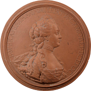 J.B. Nini 1771 Empress Catherine II of Russia Terracotta Portrait Medallion Plaque Terra Cotta