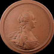 J.B. Nini 1771 Empress Catherine II of Russia Terracotta Portrait Medallion Plaque Terra Cotta