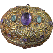 Antique Austro-Hungarian Jeweled Silver Gilt Snuff Patch Box
