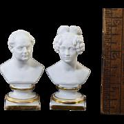 c1847 KPM Miniature Busts Frederick William IV & Elisabeth Bisque Porcelain Doll House