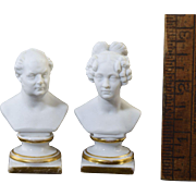 c1847 KPM Miniature Busts Frederick William IV & Elisabeth Bisque Porcelain Doll House
