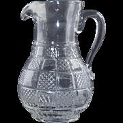 "19thC Three Mold Blown Glass Pitcher w/Applied Handle & Pontil 7"" Antique"