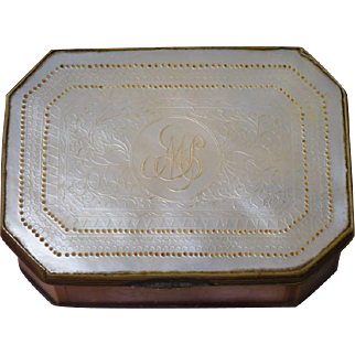 18thC Chinese Export Mother of Pearl & Brass Snuff Patch Box w/Mirror Lid Antique