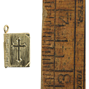 Vintage 14k Gold Bible Charm w/Lord's Prayer Miniature