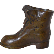 "Antique Bronze ""Old Boot"" Match Striker Holder Heavy 11 oz!"