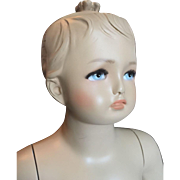 """Vintage 35"""" Little Girl Child Mannequin Doll Molded Hair Painted Face, Glass Base"""