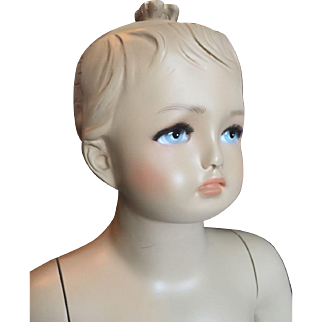"Vintage 35"" Little Girl Child Mannequin Doll Molded Hair Painted Face, Glass Base"