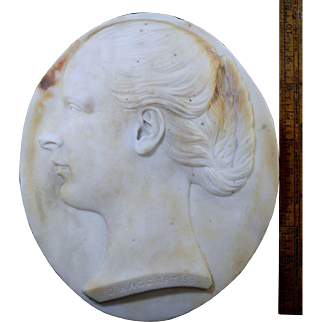 Large 1880 Marble Portrait Relief Plaque of Woman by Donald Campbell Haggart (1844-1925) Glasgow Scotland Antique