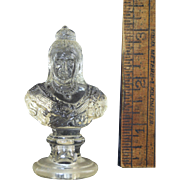 "Antique Miniature ""Queen Victoria"" Bust for Dolls or Doll House Pressed Glass Made in Germany 1897"