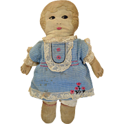 """Vintage 1920s Cloth Rag Doll Embroidered Face & Hair Hand Made 16"""""""