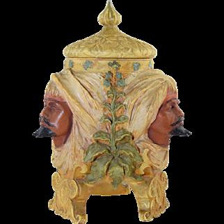 Antique Amphora Ceramic Humidor w/3 Arabian Men Heads Painted Pottery