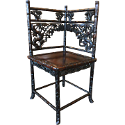 Rare 19thC Antique Chinese Carved Rosewood Corner Chair Bamboo Branches & Leaves