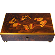 Reuge Music Box 4/50 Note Burl Inlay w/Butterflies Gorgeous! Vintage