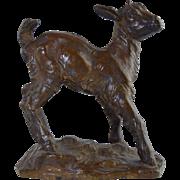 1919 Laura Gardin Fraser (American 1889-1966) Bronze Baby Goat Sculpture