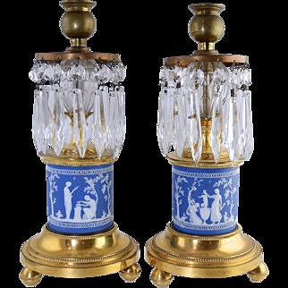 Antique George III Style Jasperware & Gilt Bronze Candlesticks Cut Glass English Regency