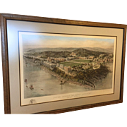 Large Antique West Point US Military Academy Hand Colored Engraving Print by Richard Rummell 1910s