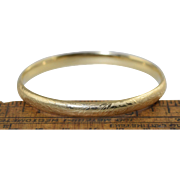 "Vintage 14k Gold Bangle Bracelet w/Floral Vine Leaf Design 8.2g, 6 3/4"", 1/4"" wide"
