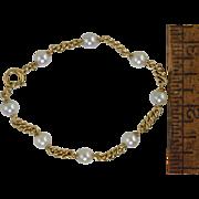 """Vintage 14k Gold & Cultured Pearl Link Bracelet 7 1/4"""" 9g"""