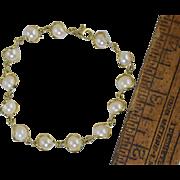 """Vintage 14k Gold & Cultured Pearl Link Bracelet 7 1/4"""" 10g"""