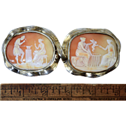 Rare Antique Victorian Shell Cameo Belt Buckle w/Classical Scenes Vulcan, Venus, & Cupid Seller
