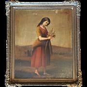 "Antique Biblical Painting of Ruth, School of John Gadsby Chapman, 19thC Large 25""x30"""