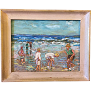 Samuel Pratt (Virginia 1903-1999) Impressionist Children Playing on Beach Scene Painting