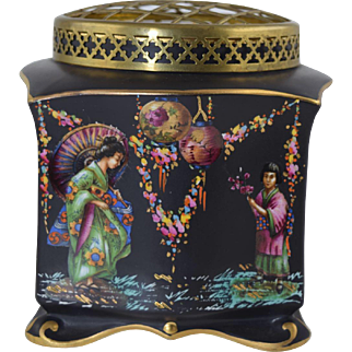 Vintage Falcon Ware Flower Frog Vase w/Japanese Enamel & Black Ground