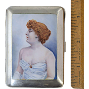 "German 900 Silver & Enamel Cigarette Case w/Redhead Lady Burlesque Dancer c1920 ""Risque!"""