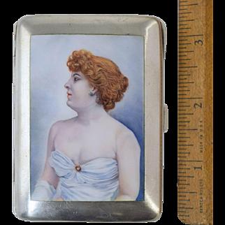 "German 900 Silver & Enamel Cigarette Case w/Redhead Lady Burlesque Dancer c1920 ""Risque!"""