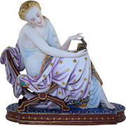 Antique Jean Gille French Bisque Figurine Semi-Nude Classical Lady w/Jewelry Box