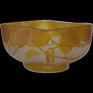"Antique French/Bohemian Cameo Glass Bowl Art Nouveau Leaves/Pods Signed ""Fernando"""