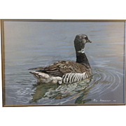 Rod Arbogast 1977 Original Watercolor of a Brant Goose Wildlife Hunt Scene