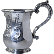 Antique Coin Silver Christening Cup/Mug Octagonal Repousse American 117.5g