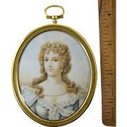 "Antique French Miniature Portrait signed ""Vestier 1771"" Gilt Bronze Frame"