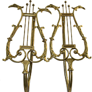 Pair Antique French Bronze Lyre/Harp Neo-Classical Curtain Tie Backs w/Swan Heads