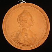 Antique Terra Cotta Medallion Catherine the Great of Russia, signed J.B. Nini 1771, French (1717-1786)