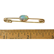"Antique Victorian/Edwardian Opal 14k Gold ""Safety Pin"" Brooch"