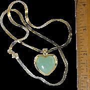 """14K Jade Heart Pendant w/14K 18"""" chain"""