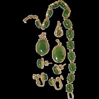 Vintage Spinach Jade Jewelry Set, Bracelet, 3 pendants, 2 pair Earrings