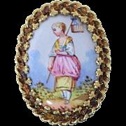 Vintage 14k Gold Viennese Enamel Portrait Ring sz 8.5