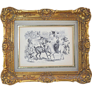 Antique 19thC Original Pen & Ink Hunt Scene Drawing Horses Victorian English