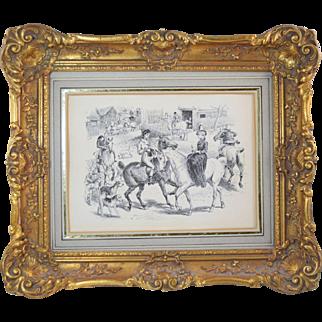 Antique 19thC Original Pen & Ink Hunt Scene Drawing Horses Victorian English