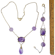 Vintage Art Deco Chinese Carved Amethyst Necklace & Bracelet Set