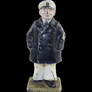 Vintage Navy Sea Captain Doorstop or Bookend Cast Iron