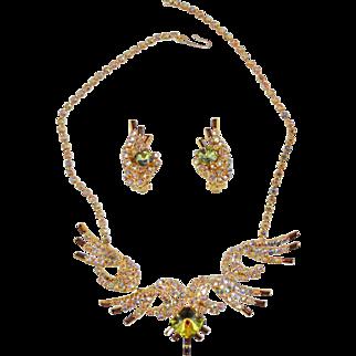 Vintage Juliana Aurora Borealis Rhinestone Necklace & Earring Set