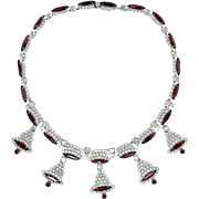 "Vintage Kramer ""Christmas Bells"" Rhinestone Necklace... White & Ruby Red Stones"