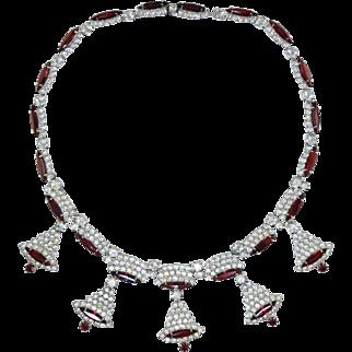"Vintage Kramer ""Christmas Bells"" Rhinestone Necklace... White & Ruby Red Stones"