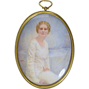 Katharine Payne Starr (1869-1943) Large Miniature Watercolor Portrait of Mary Blackmer 1926 St Louis Mo