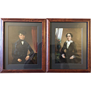 Antique c1850 Pair of French Miniature Portraits of Alfred & Rosalie Mutz Signed w/Family history